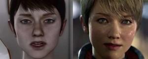 Left Tech Demo KARA para PS3, a la derecha una imagen del trailer presentado en PS4