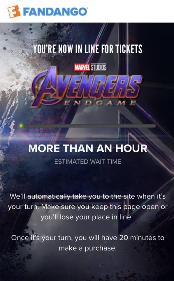 Предварительная продажа финала Мстителей