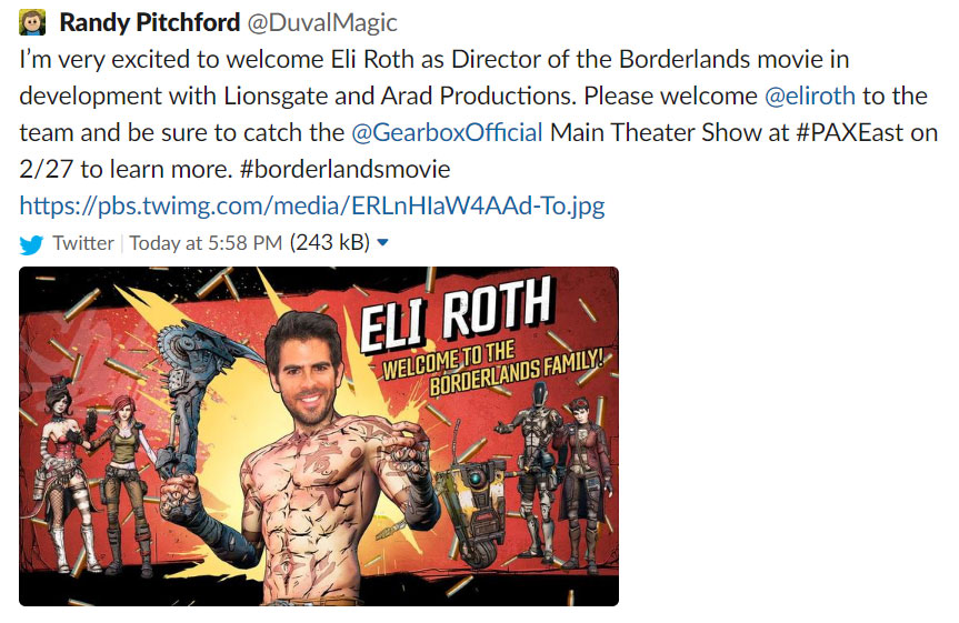 Borderlands film con Eli Roth