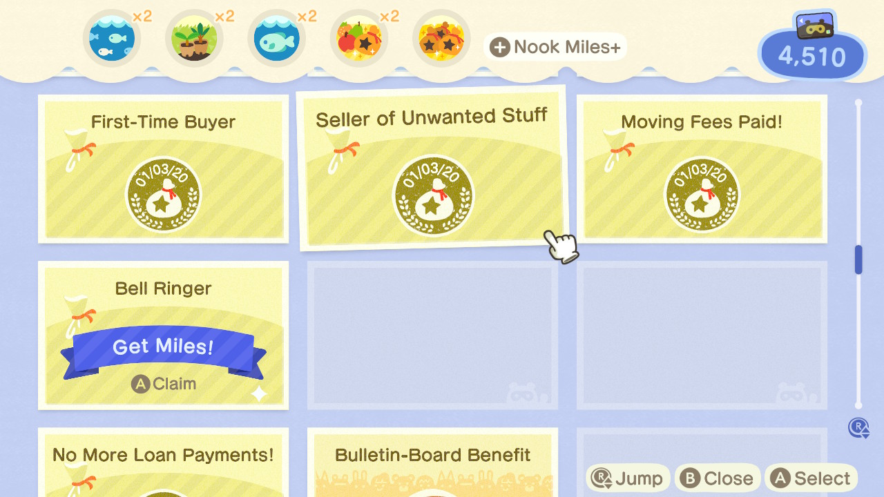 Animal Crossing: New Horizons Nook Miles-Menü