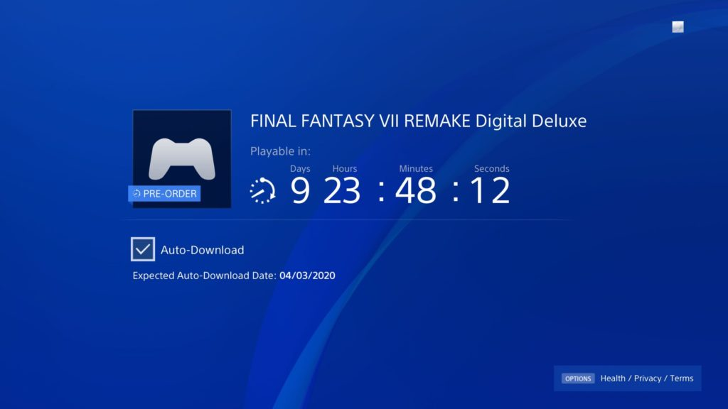 Final Fantasy VII Remake Pre Load
