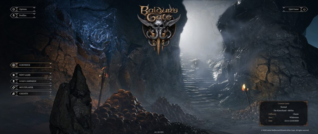Menú principal de D&D Baldur's Gate III