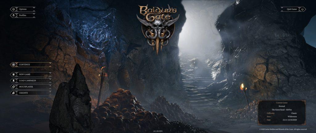 D & D Baldur's Gate III hoofdmenu