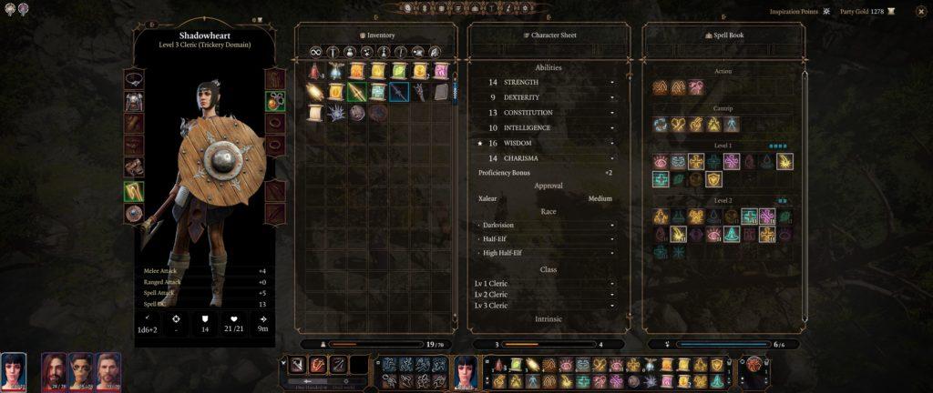 Menu d'équipement de D&D Baldur's Gate III