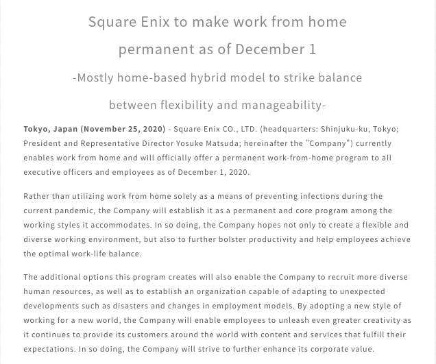 Square Enix Smart Working