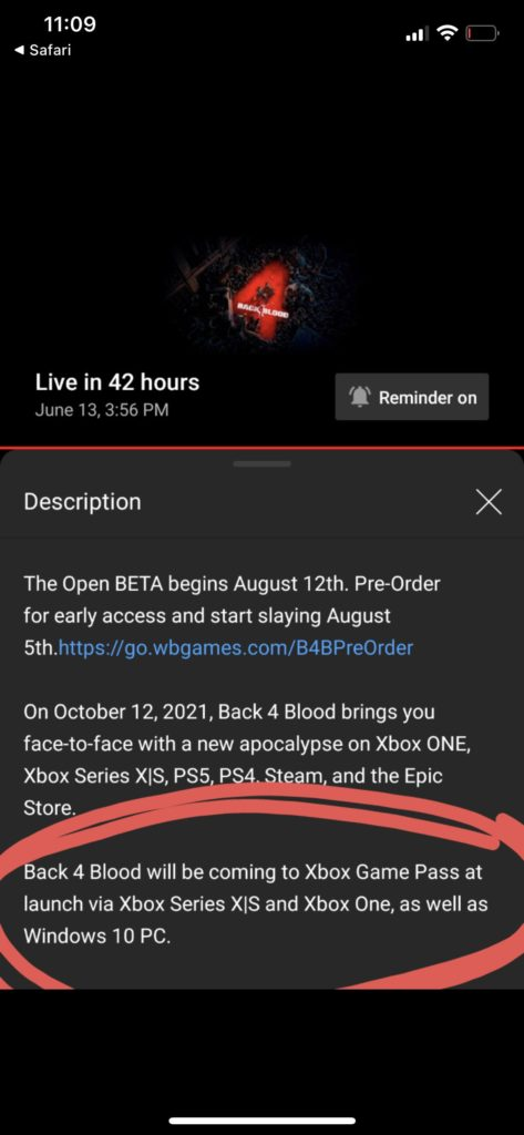 Xbox Game Pass Back 4 Blood